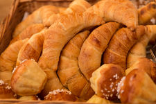 Fresh croissants and sweet brioches